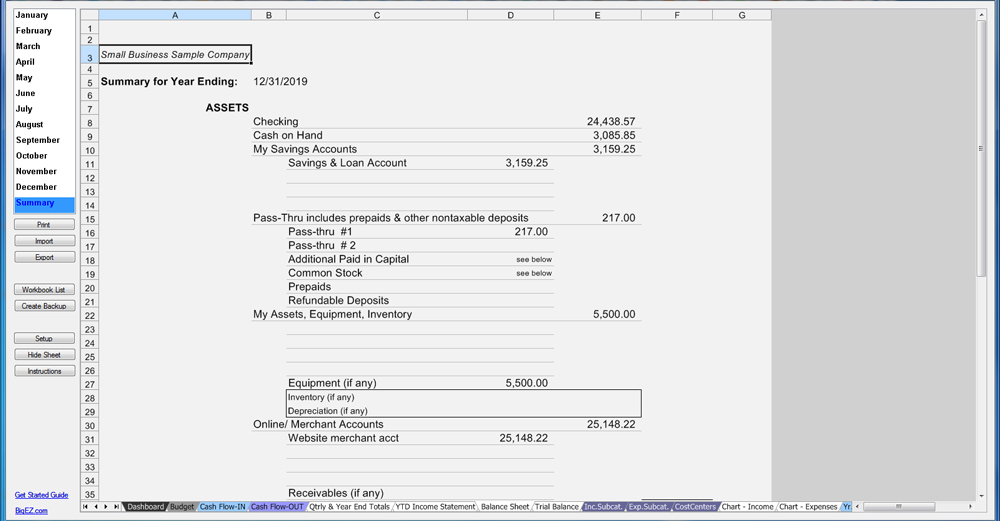SMB Accounting Balance Statement