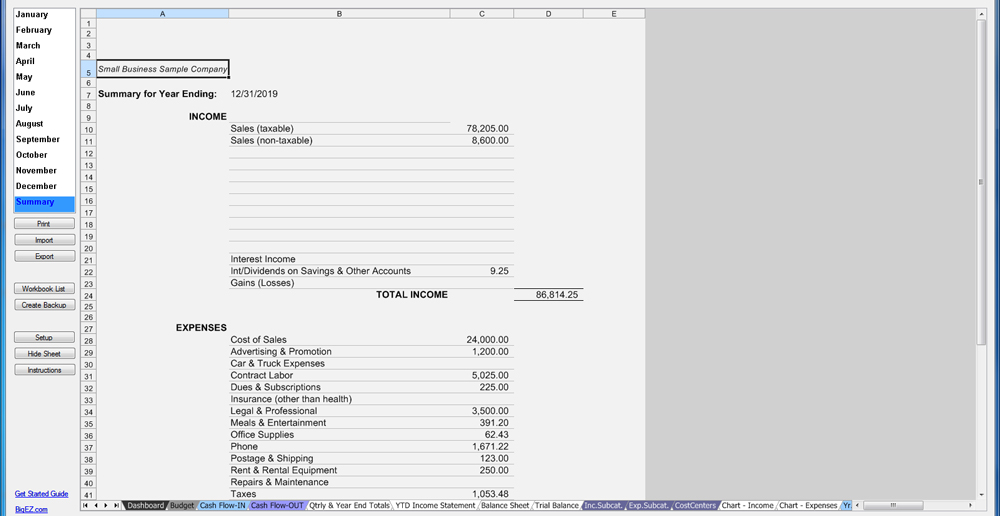 SMB Income Statement Financials